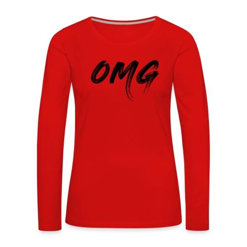 OMG, musta - Naisten premium pitkähihainen t-paita