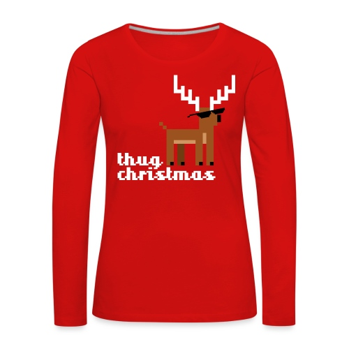 Christmas Xmas Deer Pixel Funny - Women's Premium Longsleeve Shirt