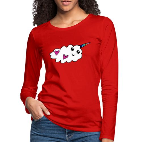 Nuage licorne Kawaii - T-shirt manches longues Premium Femme