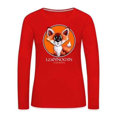 llwynogyn - a little red fox (white) - Dame premium T-shirt med lange ærmer