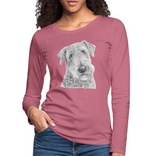 airedale terrier - Dame premium T-shirt med lange ærmer