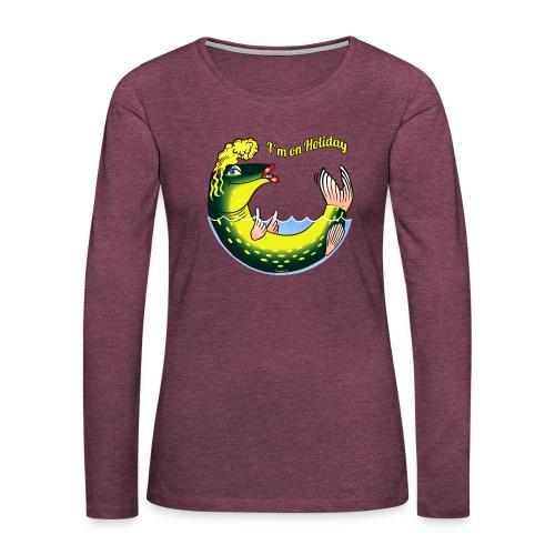 10-39 LADY FISH HOLIDAY - Haukileidi lomailee - Naisten premium pitkähihainen t-paita