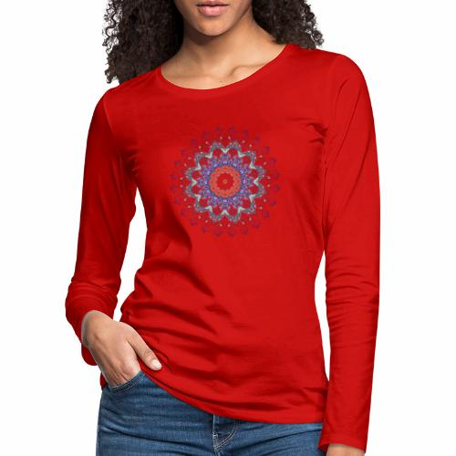 Orange mandala - Dame premium T-shirt med lange ærmer