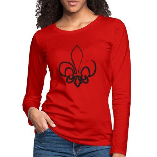 Pinselzeichnung Lilie – Schwarz - Frauen Premium Langarmshirt