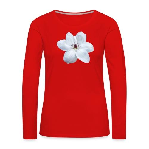Jalokärhö, valkoinen - Naisten premium pitkähihainen t-paita