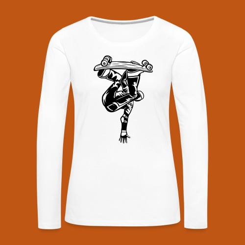 Skater / Skateboarder 03_schwarz weiß - Frauen Premium Langarmshirt