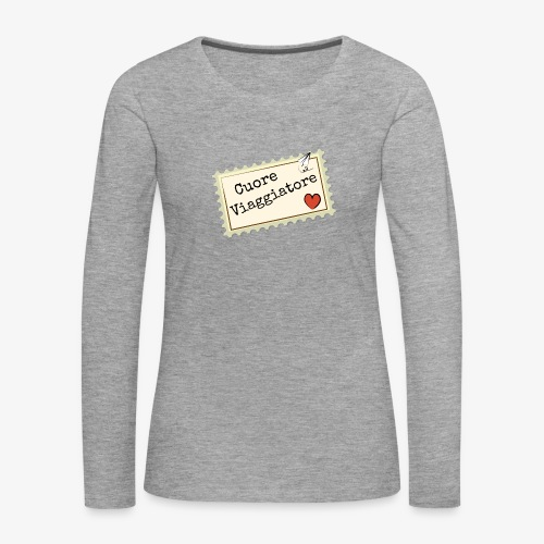 CUORE VIAGGIATORE Scritta con aeroplanino e cuore - Maglietta Premium a manica lunga da donna