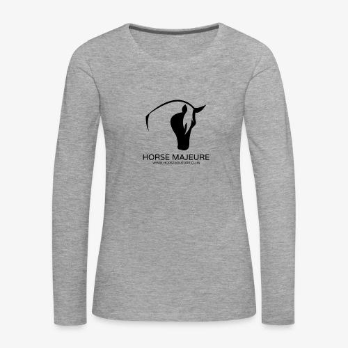 Horse Majeure Logo / Musta - Naisten premium pitkähihainen t-paita