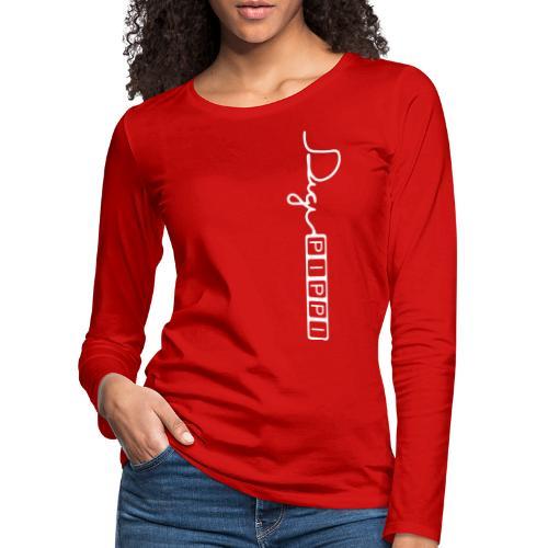 DP Logo White - Dame premium T-shirt med lange ærmer