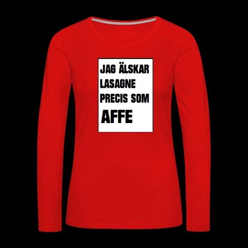 Affe älskar lasagne - Långärmad premium-T-shirt dam