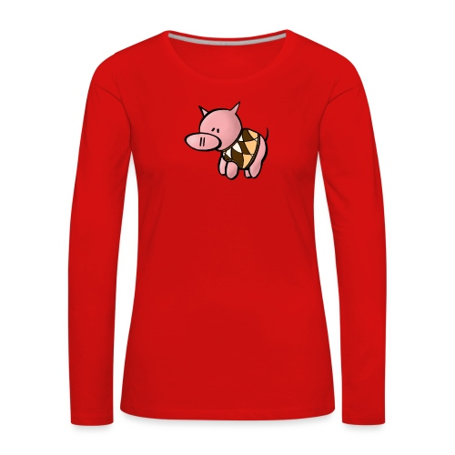 Grisen i pullover - Långärmad premium-T-shirt dam