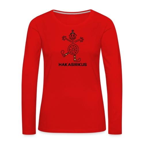 Hakasirkuspelle 15cm musta tekstilla png - Naisten premium pitkähihainen t-paita