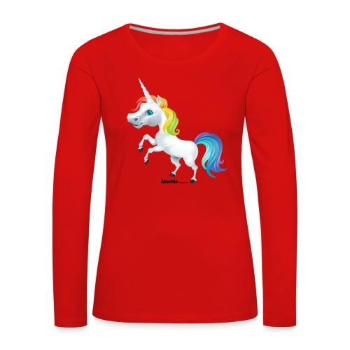 Tęczowy jednorożec - Koszulka damska Premium z długim rękawem