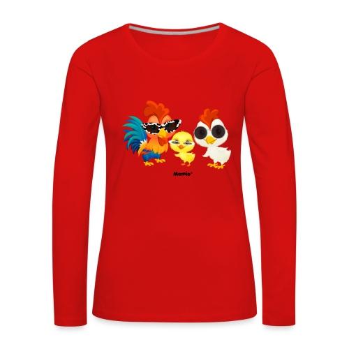 Huhn - von Momio Designer Emeraldo. - Frauen Premium Langarmshirt