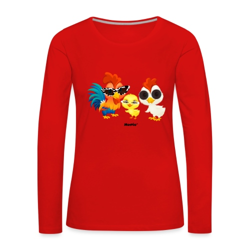 Kurczak - autorstwa Momio Designer Emeraldo. - Koszulka damska Premium z długim rękawem