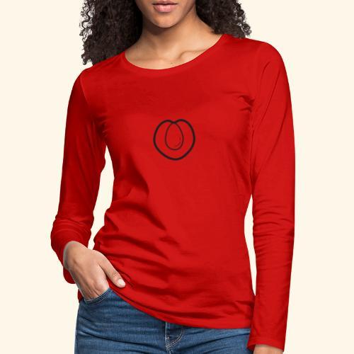 fruits and veggies icons peach 512 - Dame premium T-shirt med lange ærmer