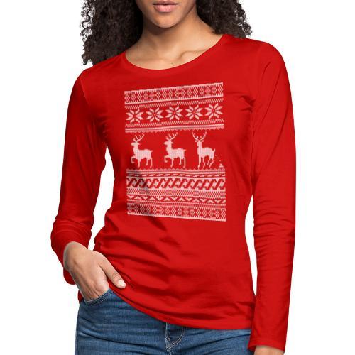 Ugly Christmas Sweater Rentier Muster (lustig) - Frauen Premium Langarmshirt