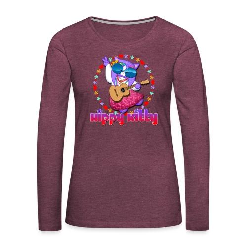 Hippy Kitty - Maglietta Premium a manica lunga da donna