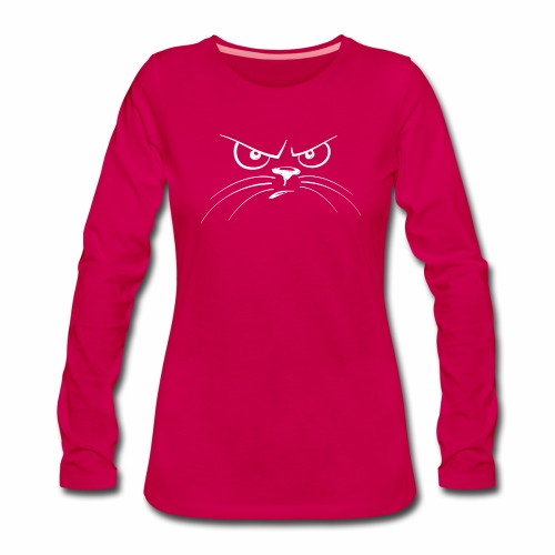 GATTO ARRABBIATO BIANCO - ANGRY CAT - Maglietta Premium a manica lunga da donna