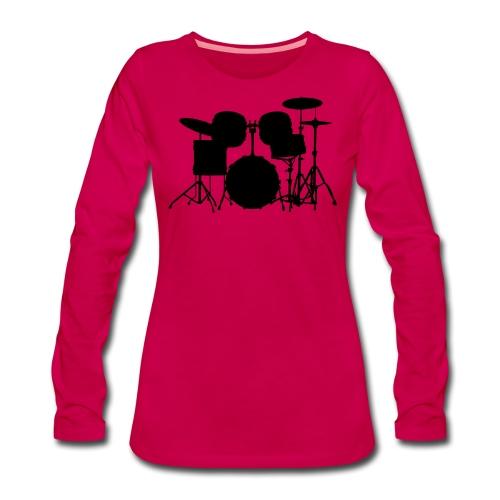 Drumset 1 Kontur schwarz - Frauen Premium Langarmshirt