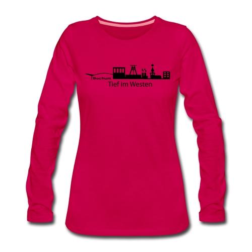 Skyline Bochum Tief im Westen - Frauen Premium Langarmshirt