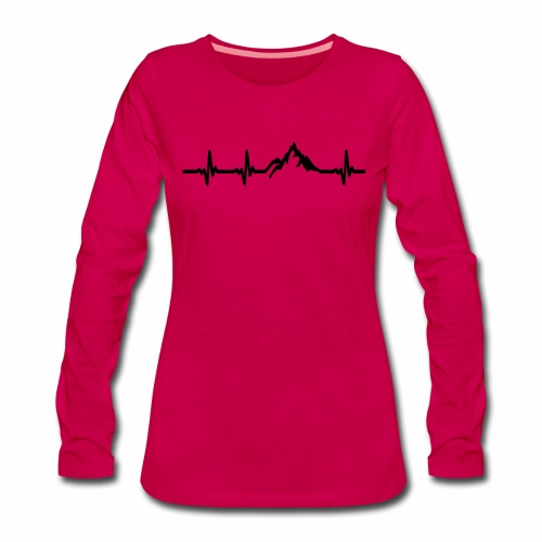 Herzschlag - Berg - Frauen Premium Langarmshirt