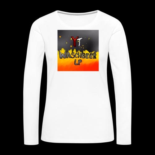 Waschbeer Design 2# Mit Flammen - Frauen Premium Langarmshirt