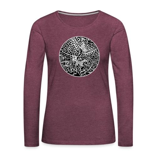 GlobeDesign-BW - Dame premium T-shirt med lange ærmer