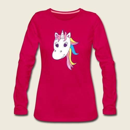 Einhorn Unicorna lila weiß bunte Mähne - Frauen Premium Langarmshirt