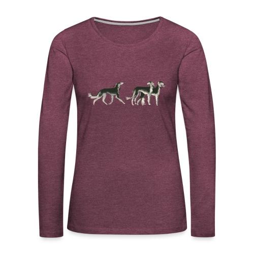 Drei Salukis - Frauen Premium Langarmshirt