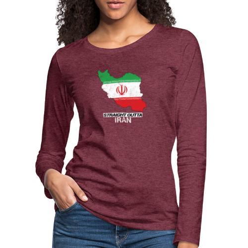 Straight Outta Iran country map & flag - Women's Premium Longsleeve Shirt