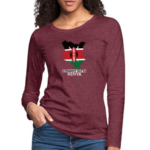 Straight Outta Kenya country map & flag - Women's Premium Longsleeve Shirt
