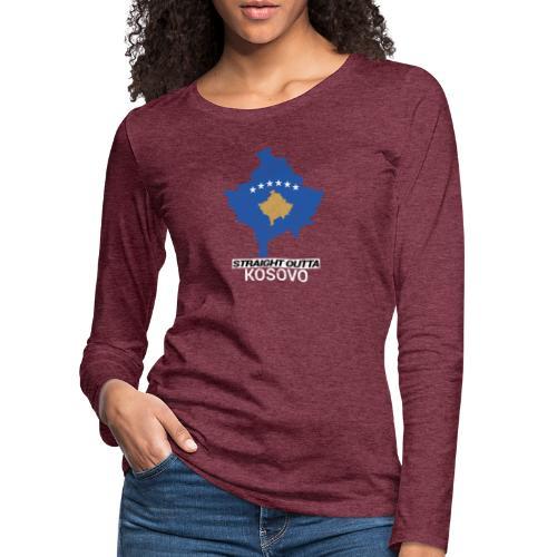 Straight Outta Kosovo country map - Women's Premium Longsleeve Shirt