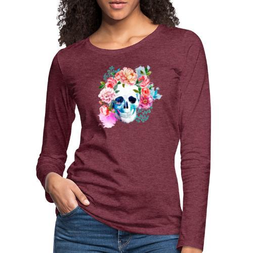 Calavera con flores - Camiseta de manga larga premium mujer