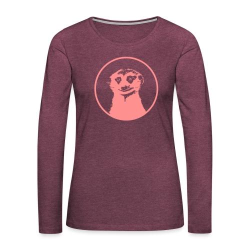 Stokstaartje groot rond diapositief - Vrouwen Premium shirt met lange mouwen