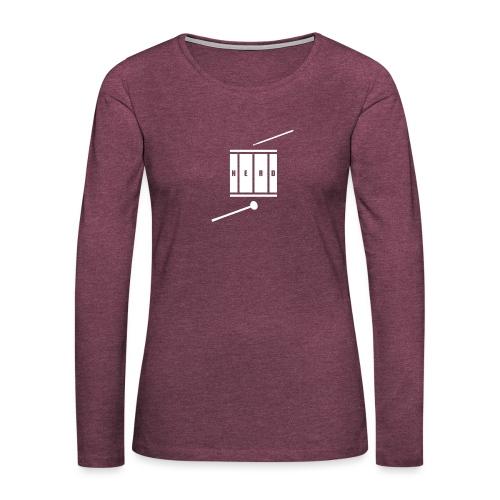 Nerd_Logo White - Dame premium T-shirt med lange ærmer