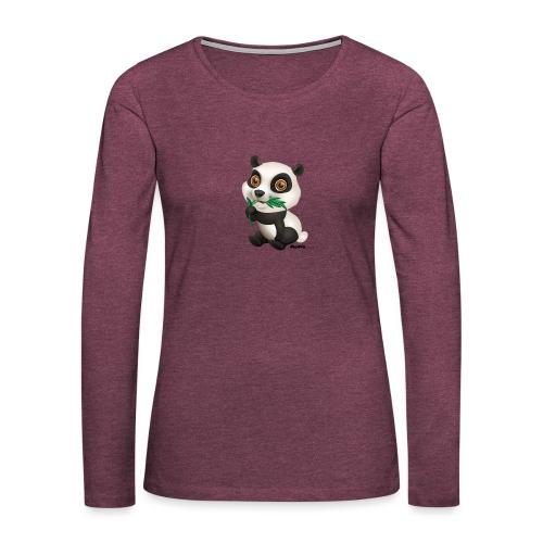 Panda - Naisten premium pitkähihainen t-paita
