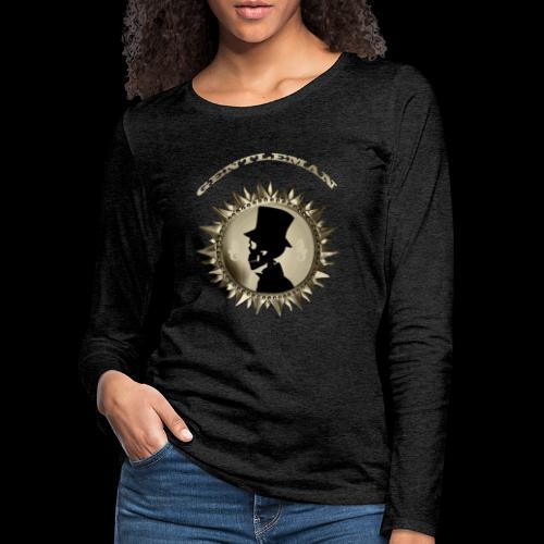TÊTE DE MORT SILHOUETTE PORTRAIT GENTLEMAN - T-shirt manches longues Premium Femme