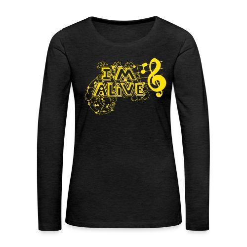 i m alive geel png - Vrouwen Premium shirt met lange mouwen