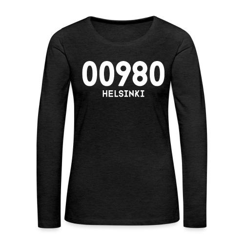 00980 HELSINKI - Naisten premium pitkähihainen t-paita