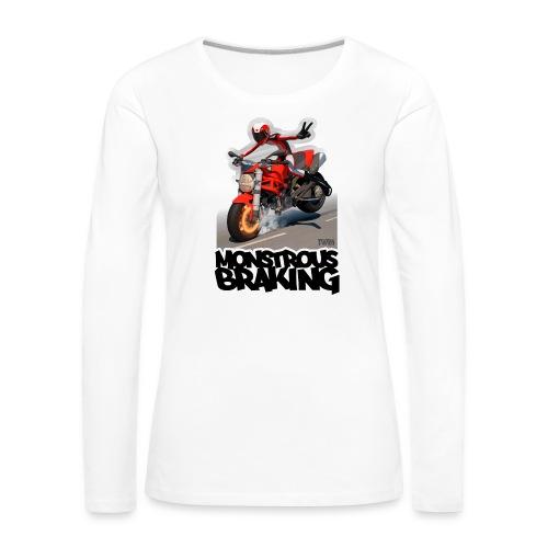 Ducati Monster, a motorcycle stoppie. - Camiseta de manga larga premium mujer