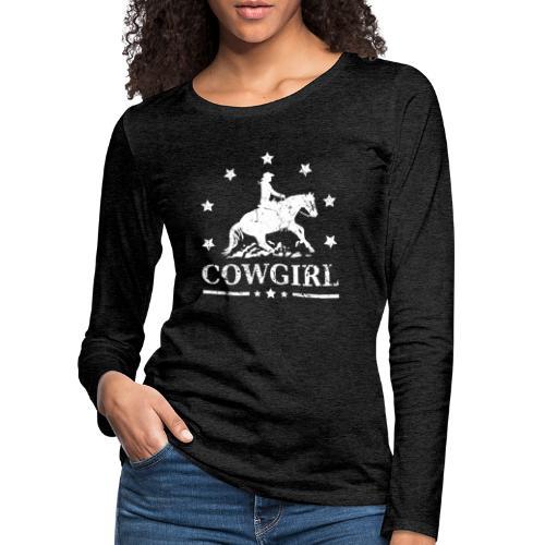 Westernreiterin Reining Sliding Stop Silhouette - Frauen Premium Langarmshirt