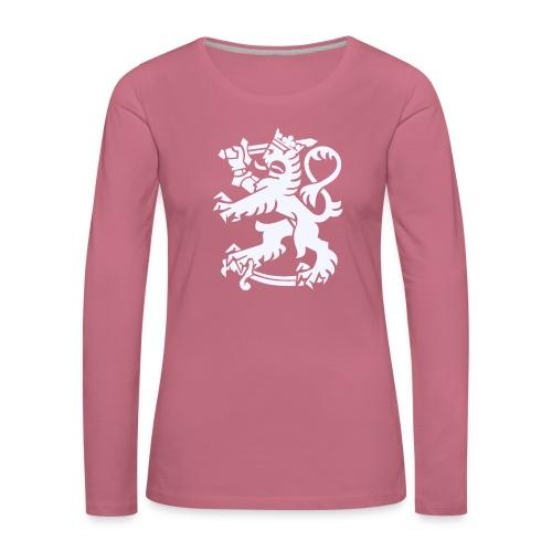 Valkoinen leijona - Naisten premium pitkähihainen t-paita