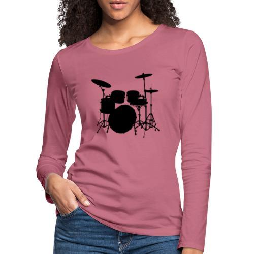 Bateria negro drums - Camiseta de manga larga premium mujer