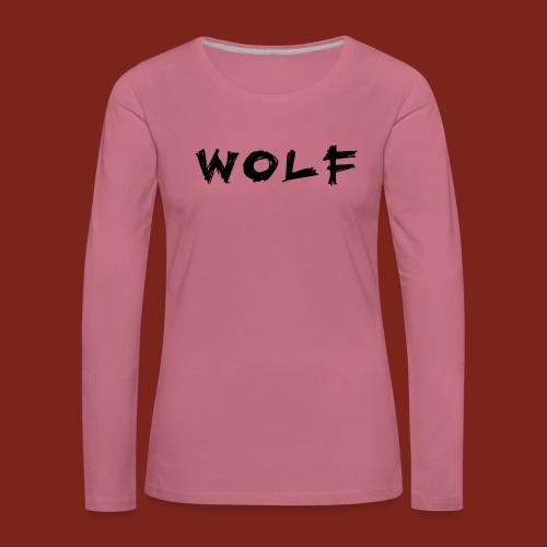 Wolf Font png - Vrouwen Premium shirt met lange mouwen