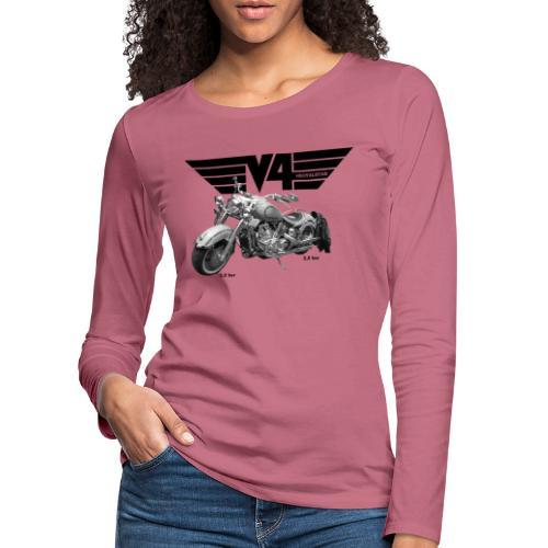 V4 Motorcycles black Wings - Frauen Premium Langarmshirt
