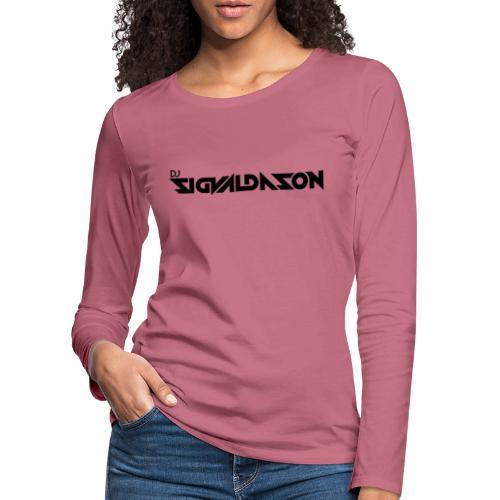 DJ logo sort - Dame premium T-shirt med lange ærmer