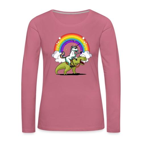 Unicorn Riding Ninja - Naisten premium pitkähihainen t-paita