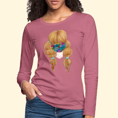 Fille masquée aux succulentes - T-shirt manches longues Premium Femme