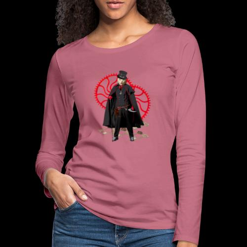 Monsieur chat blanc steampunk - T-shirt manches longues Premium Femme